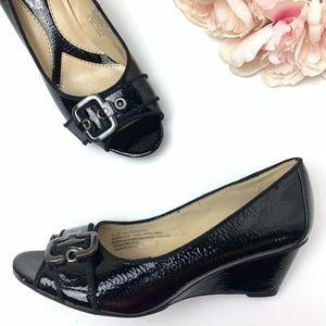 Naturalizer black wedge peep toe shoes size 6.5